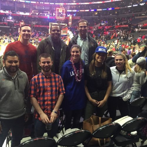 Students on the 2018 sports trek at an L.A. Clippers game.