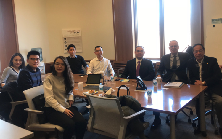 Albert Ip, board of trustee member and executive fellow in Asia; Greg Hutchings of the Weston Career Center; Roger Shi, Mack Yang, Wendy Cai, Ethan Xu, Sarah Liu.