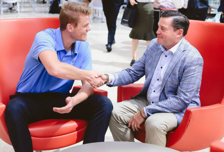 Pictured above: Scholarship donor Neil M. Yaris, BSBA'86, meets with the latest recipient of the Neil Marshall Yaris Scholarship, Hank Hunter, BSBA'20.